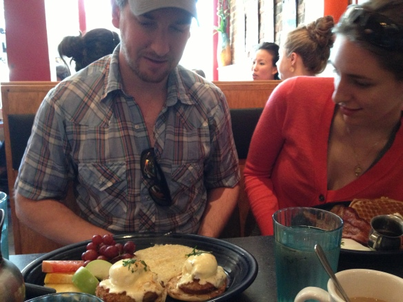 Fried Green Tomato Eggs Benedict at Hot Suppa. Photo by Meryl Ayres