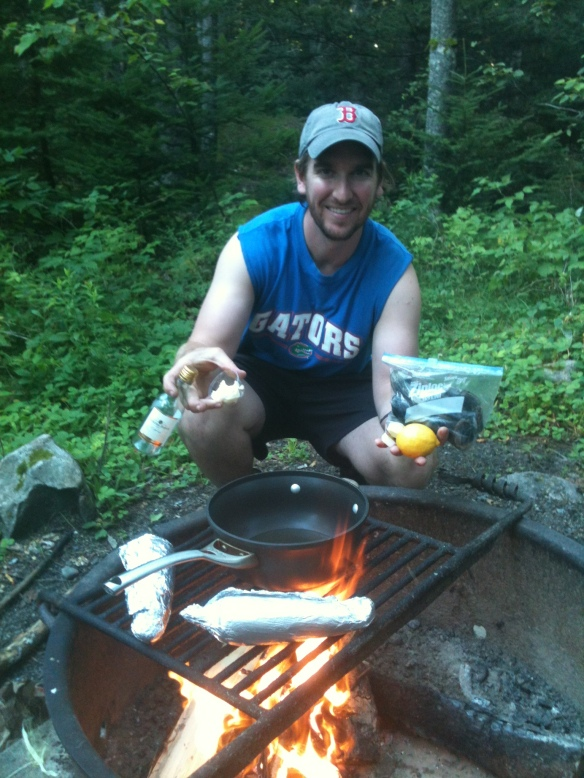 Jordan Cooking our steamers - who says you can't eat clams with a white wine sauce in the woods?