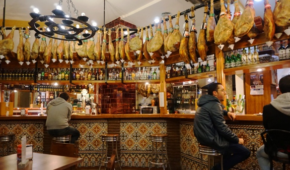 Those are Ham legs dangling above the bar, yum!